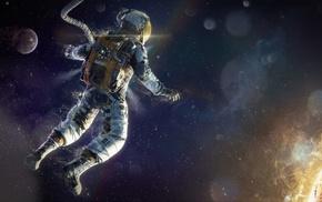 space, digital art, astronaut, Sun