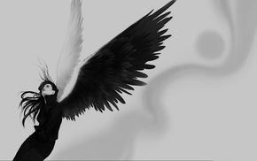black, wings, angel wings, monochrome