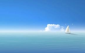 boat, seagulls, sea