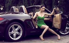 dress, car, black, green, luxury, wheels
