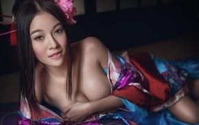 Asian, girl, holding boobs, model