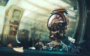 surreal, fantasy art, clocks, artwork