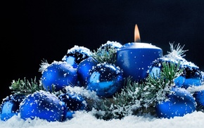 snow, Christmas ornaments, candles
