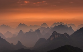 nature, amber, sky, lace, sunrise, Guilin