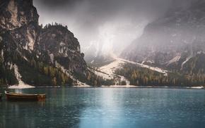 lake, nature, mist, fall, landscape, panoramas