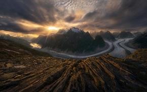 snowy peak, Alaska, sunset, nature, glaciers, sun rays