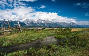 grass, fence, Grand Teton National Park, landscape, creeks, nature