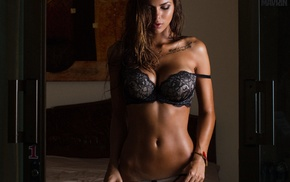 sensual gaze, tattoo, flat belly, lingerie, ab, model