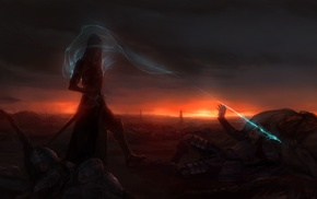 magic, battlefields, night, fantasy art, sunset