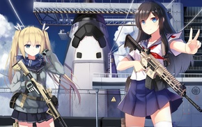 sailor uniform, space shuttle, weapon, anime girls, school uniform, original characters