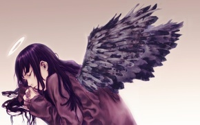 anime girls, anime, Haibane Renmei, black, Halo, Reki Haibane Renmei