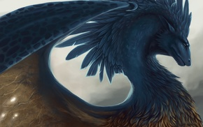 fantasy art, creature, wings, feathers, blue