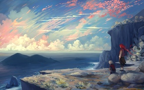 original characters, cliff, sunrise, clouds