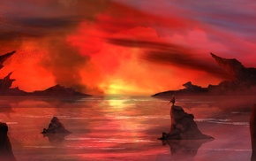 river, fire, water, red, smoke