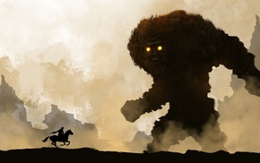 warrior, Shadow of the Colossus, fantasy art, horse, creature
