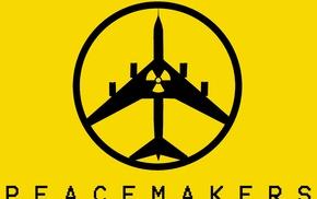 Bomber, minimalism, Metal Gear Solid Peace Walker, war, nuclear, yellow background