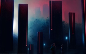 red, pillar, structure, black, cyberpunk