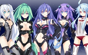 Iris Heart, Black Heart, Green Heart, anime, anime girls, Hyperdimension Neptunia