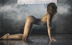 ass, skinny, girl, bent over, leotard, smoke