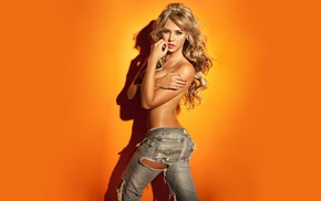 Liliana Henao, yellow background, hand bra, jeans, blonde, model