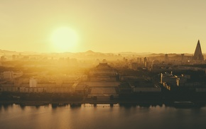 sunrise, cityscape, North Korea, Pyongyang