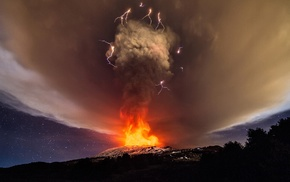 smoke, fire, clouds, vulcano, lightning, volcano