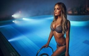 bikini, long hair, swimming pool, girl, wet, boobs