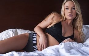 underwear, girl, in bed, blonde