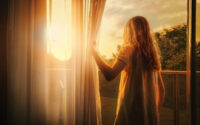 morning, Sun, children, curtains