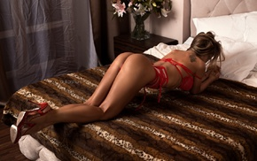 red lingerie, in bed, girl, tattoo, high heels, model