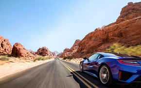 blue, road, desert, Acura NSX, car, sports car
