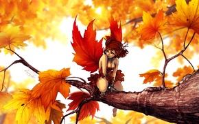 fairies, fantasy art, trees, maple leaves, artwork, leaves