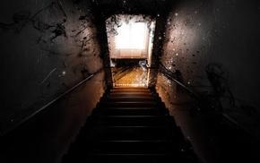 stairs, digital art, window, lights, door, digital lighting