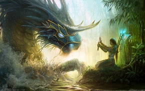 sword, dragon, video games, fantasy art, samurai, Might And Magic