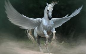 horse, Pegasus, fantasy art, artwork, wings