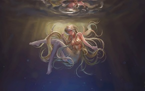original characters, underwater, long hair, anime girls, blonde, nude
