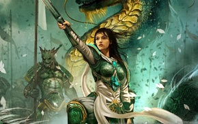 girl, warrior, Heroes of Might and Magic VI, knights, dragon, knight