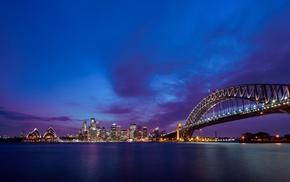 Sydney, bridge, sea, urban