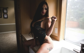 sitting, closed eyes, Teresa B, lingerie, piercing, tattoos