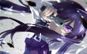 twintails, pistol, weapon, purple eyes, purple hair, gun