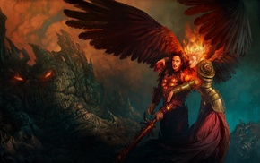 angel, fire, sword, fantasy art, girl, Might And Magic