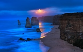 beach, nature, limestone, sea, landscape, moonlight