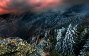 snow, sky, landscape, nature, clouds, mountain