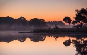 sunrise, nature, lake, Netherlands, calm, trees