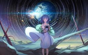 original characters, blue hair, camera, pink eyes, stars, anime girls