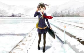 snow, anime girls, winter, original characters, school uniform