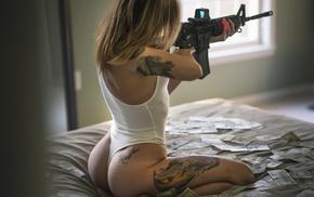ass, girl, blonde, leotard, back, tattoos