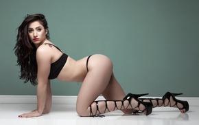 girl, high heels, walls, ass, black lingerie, tattoo