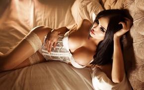 Nita Kuzmina, areolae, in bed, girl, looking away, white lingerie
