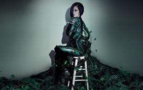 plants, chair, model, girl